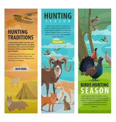 animal bird and hunter on hunting sport banners vector image
