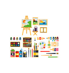 Artist painting tools and artistic materials for vector