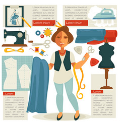 Atelier tailor or dressmaker designer profession vector
