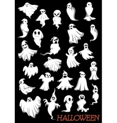 Big set of Halloween flying ghosts vector
