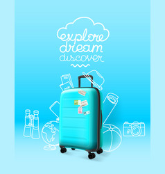 blue plastic suitcase on blue background explore vector image