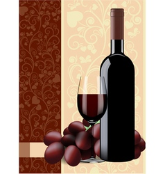 Bottle glass of wine and grapes on floral vector