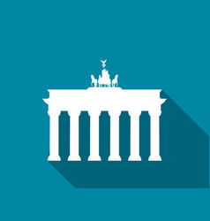 Brandenburg gate with long shadow flat icon vector