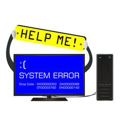 broken desktop computer error screen with help me vector image