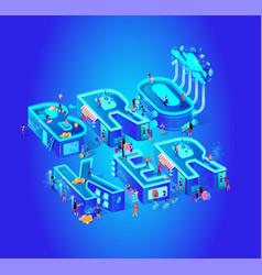 Broker isometric cloud service vector