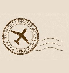 Brown postmark from venice italy grunge postal vector