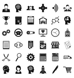business road icons set simple style vector image