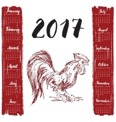 Calendar 2017 Year With Hand Drawn Red rooster vector image