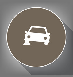 car parking sign white icon on brown vector image