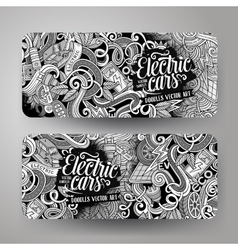 Cartoon doodles electric cars banners vector image