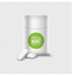 Chewing gum pack mint box candy fresh vector