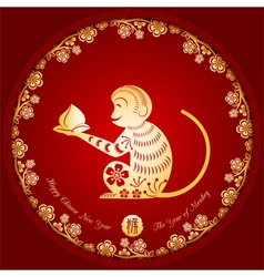 Chinese New Year Golden Monkey Background vector image
