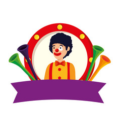 Circus clown with trumpets in emblem vector