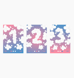 clouds font numbers set posters cards vector image