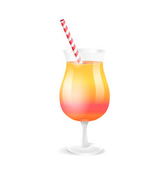 Cocktail in glass with straw vector