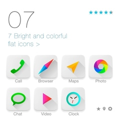 Colorful Flat icons set for Web and Mobile vector image vector image