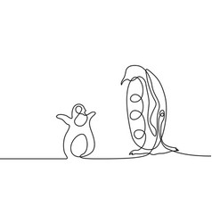 continuous line drawing parent penguin with a vector image