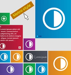 Contrast icon sign Metro style buttons Modern vector