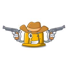 Cowboy construction helmet character cartoon vector