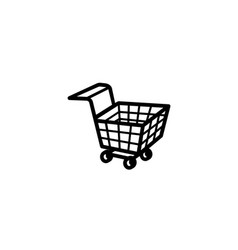 creative black shopping cart logo vector image