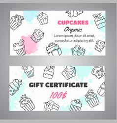 cupcake gift certificate banners with handdrawn vector image