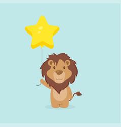 Cute lion holding balloon free vector