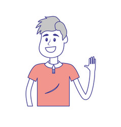 Cute man with hand up and nice wear vector