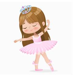Cute small brown hair girl ballerina dance vector