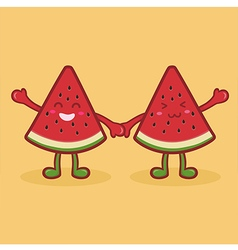 Cute Watermelon Fruit Slice Mascot Orange vector image