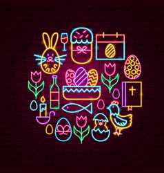 Easter holiday neon concept vector