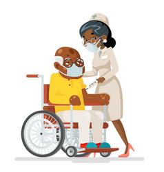 Elderly vaccination doctor with syringe cartoon vector