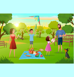 Family having fun on picnic in city park vector