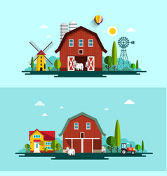 farm flat design landscape with barns and vector image