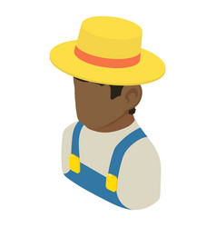 farmer man african american icon isometric 3d vector image
