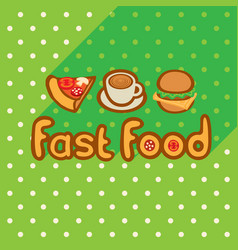 Fast food on background of the green tablecloth vector
