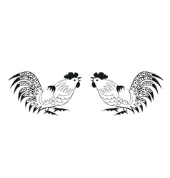 Fighting cocks on a white background vector image