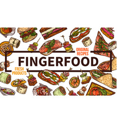 finger food web banner hand drawn template vector image