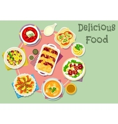 Fish and vegetable dishes for lunch icon vector
