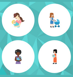 Flat icon mam set of mam child baby and other vector