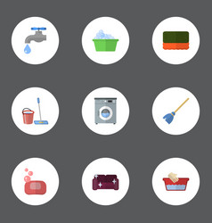 Flat icons laundromat besom wisp and other vector