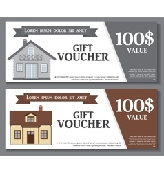 Gift Voucher Template with variation of House vector image