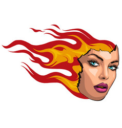 girl with flames in her hair vector image