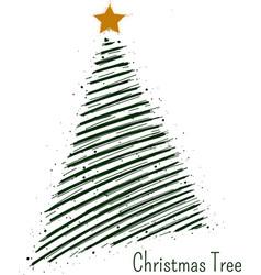 hand drawn christmas tree symbol or logo vector image