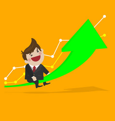 happy businessman with grow up investment vector image