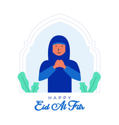 Happy eid al fitr background with flat female vector