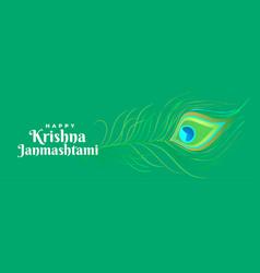 Happy krishna janmashtami peacock feather vector