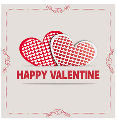 happy valentine day card with frame and hearts vector image