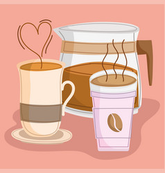 Hot coffee cups and maker vector