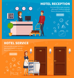 Hotel service horizontal banners vector