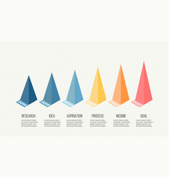 Isometric infographics bar chart graph with 6 vector